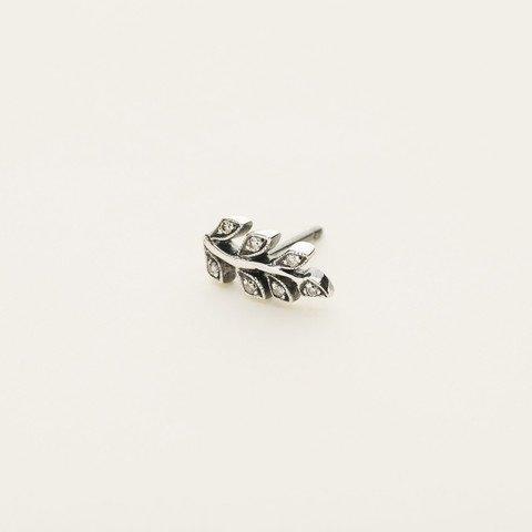 MJJ Leaf Earring Silver With Diamond