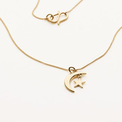 MOON & STAR NECKLACE - GOLD PLATED