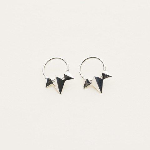 MJJ 3 Stud Earrings Hoops Silver