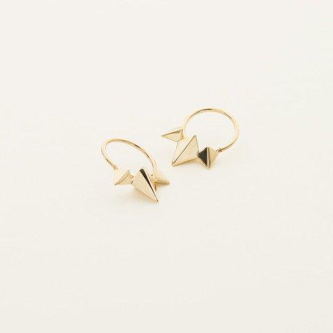 MJJ 3 Stud Earrings Hoops Gold