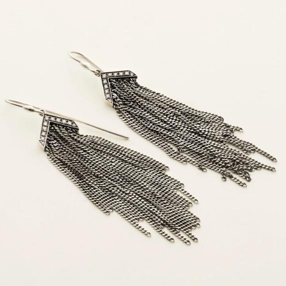 MJJ Fringe Earrings Silver