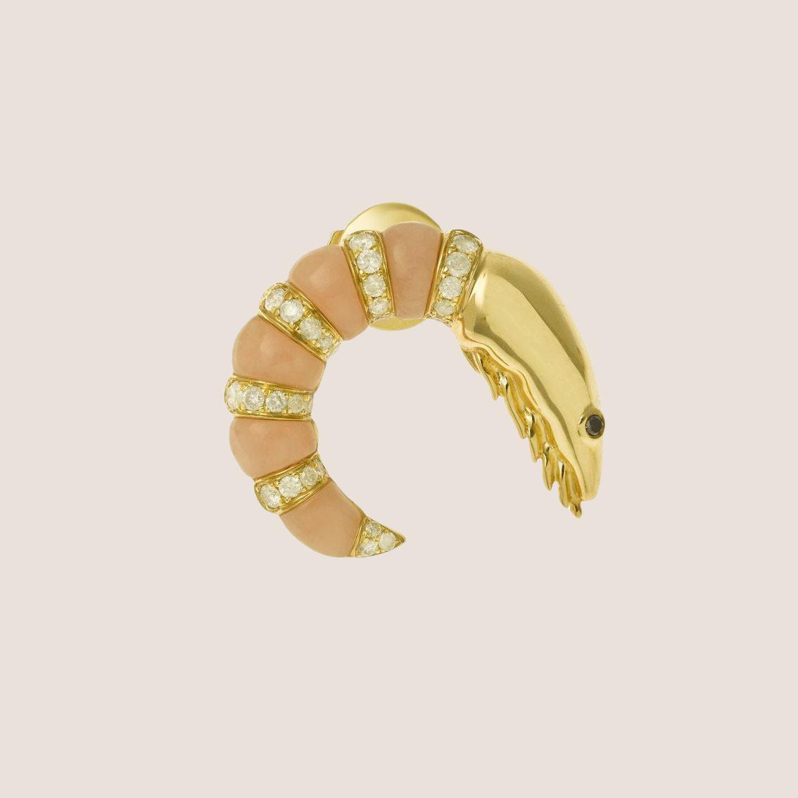 Earring Crevette Or June
