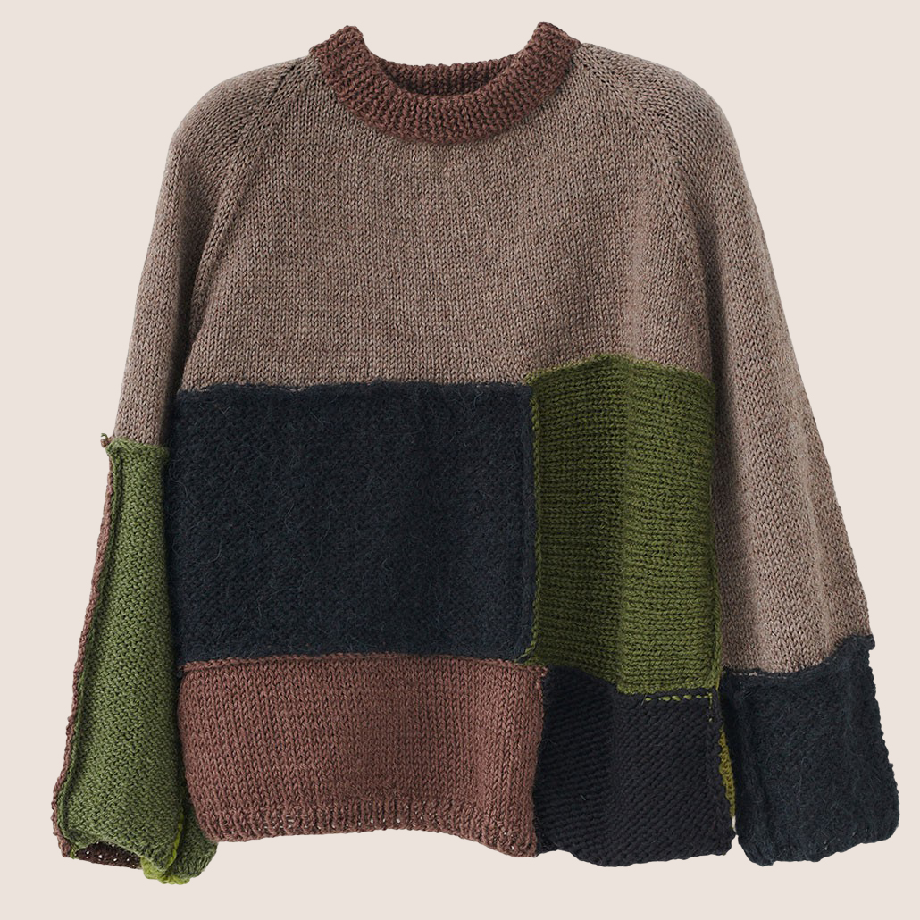 Hand Knit Patchwork Sweater
