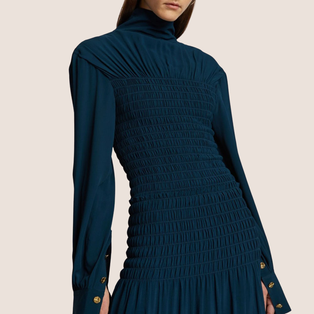 Smocked Turtleneck Dress