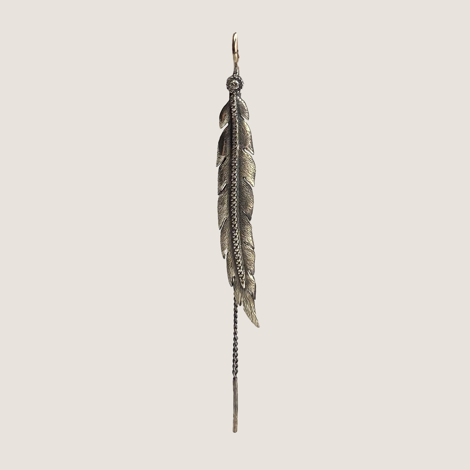 Feather Earing With Diamond