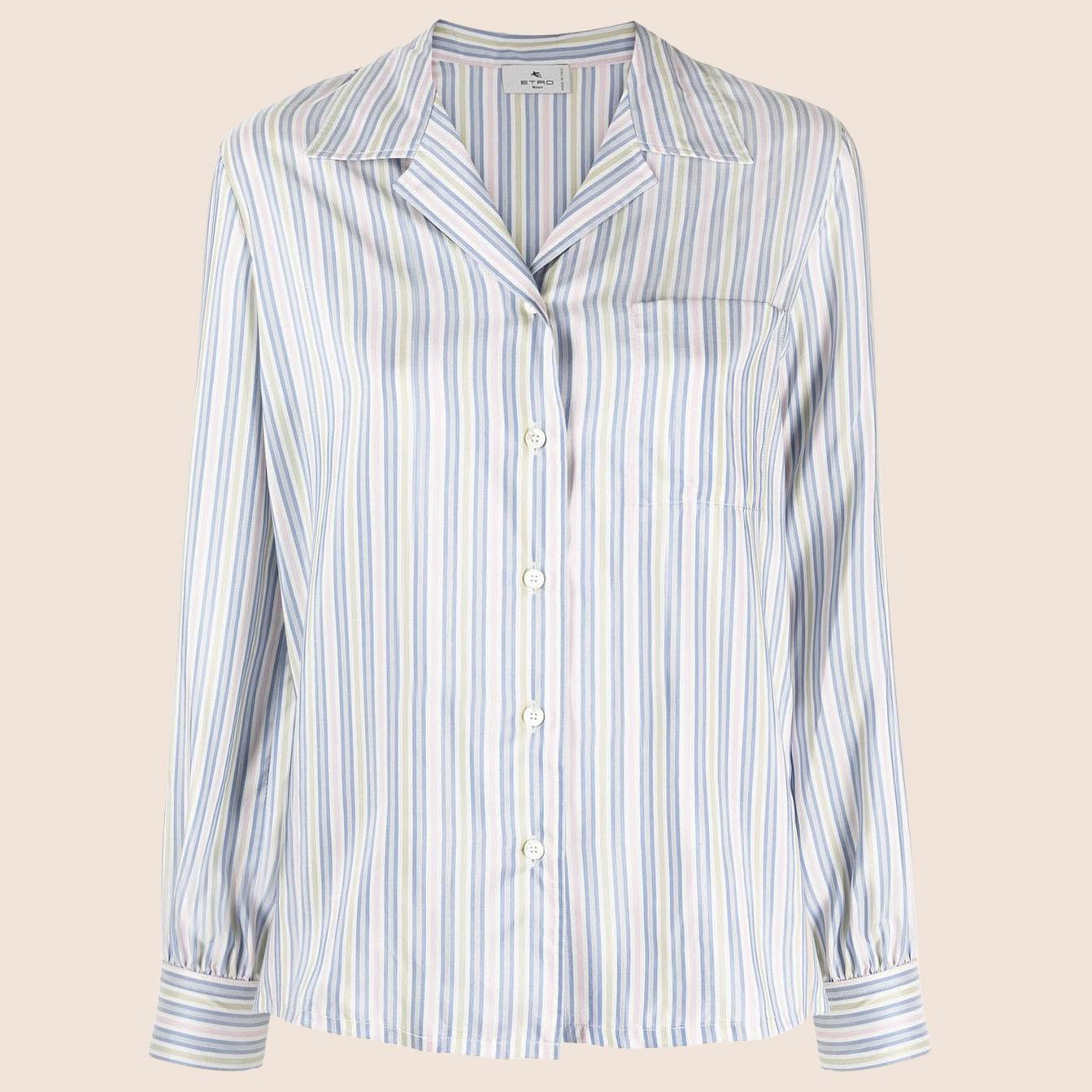 Puff-sleeved silk shirt