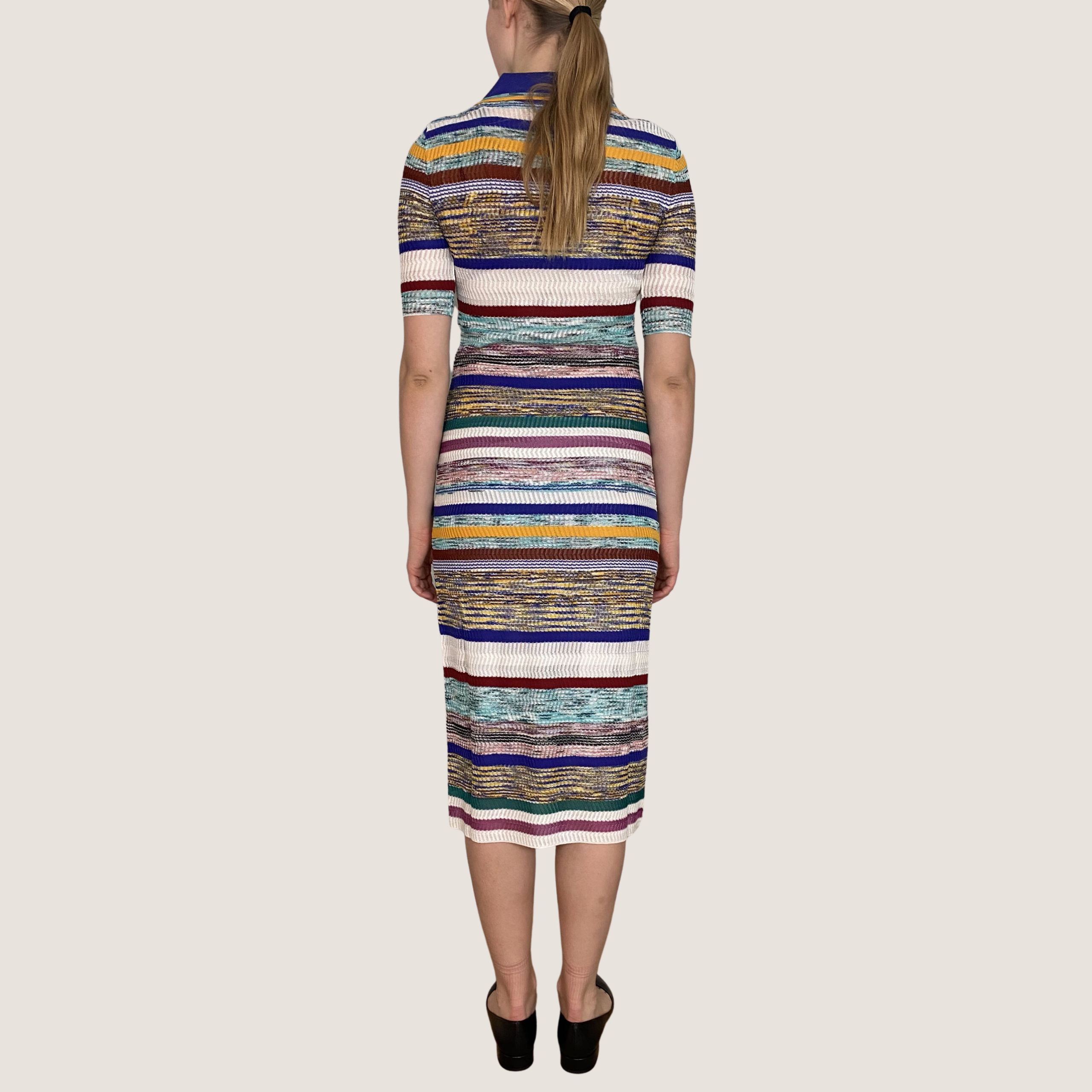 Multi Stribet Polo Dress
