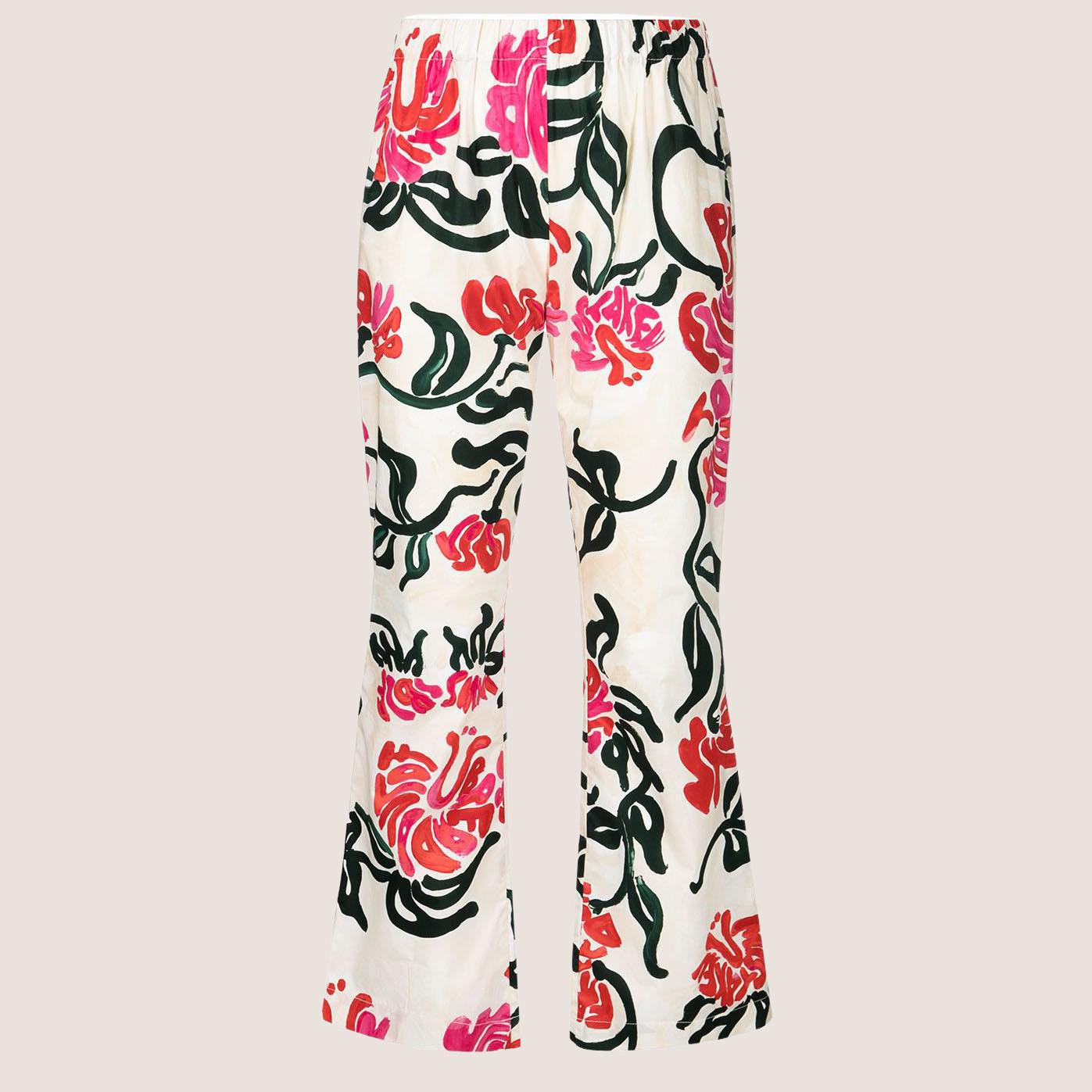 Flower Print Silk Trousers