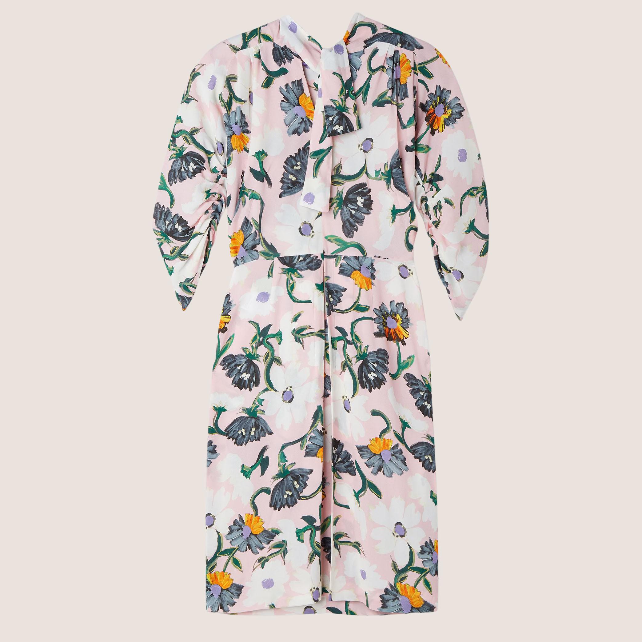 MAGNOLIA PRINT SHAWL NECK DRESS