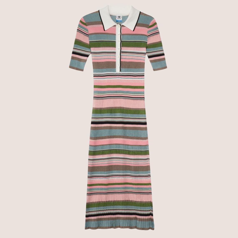Multi striped Long Polo Dress