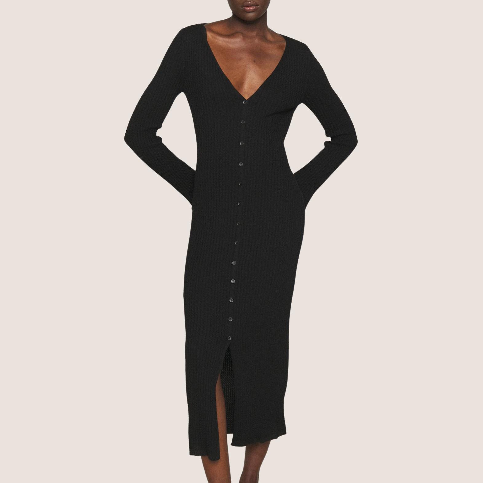 Long Bottom Down Knit Dress