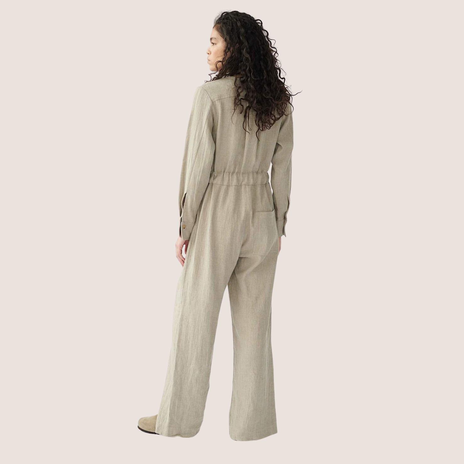Linen Boilersuit V-Neck