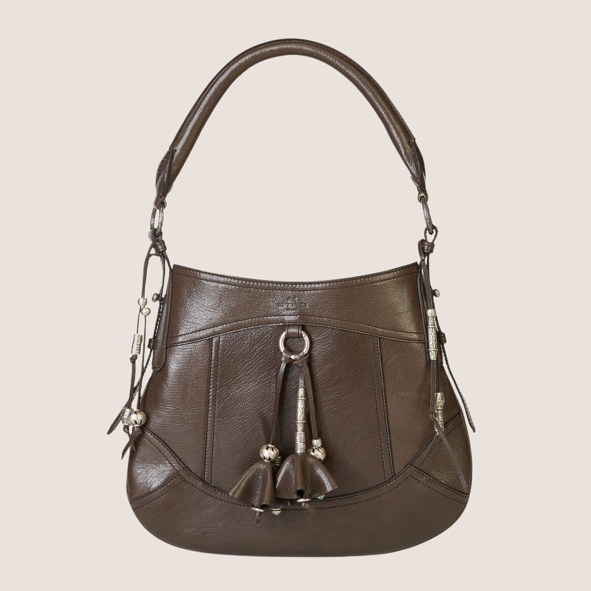 Leather Bag With Tassels & Pendants