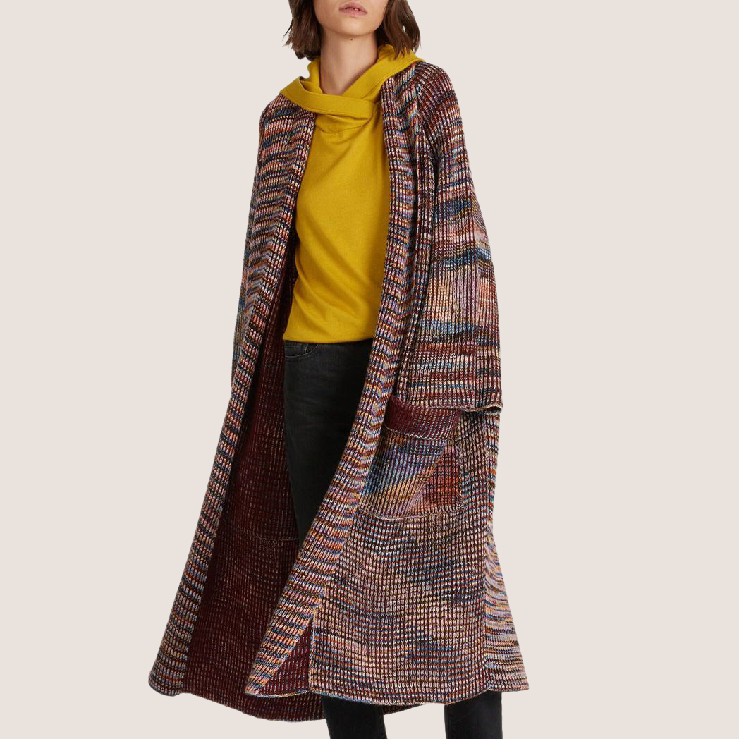 Multicolor Pattern Knitted Ribbed Coat