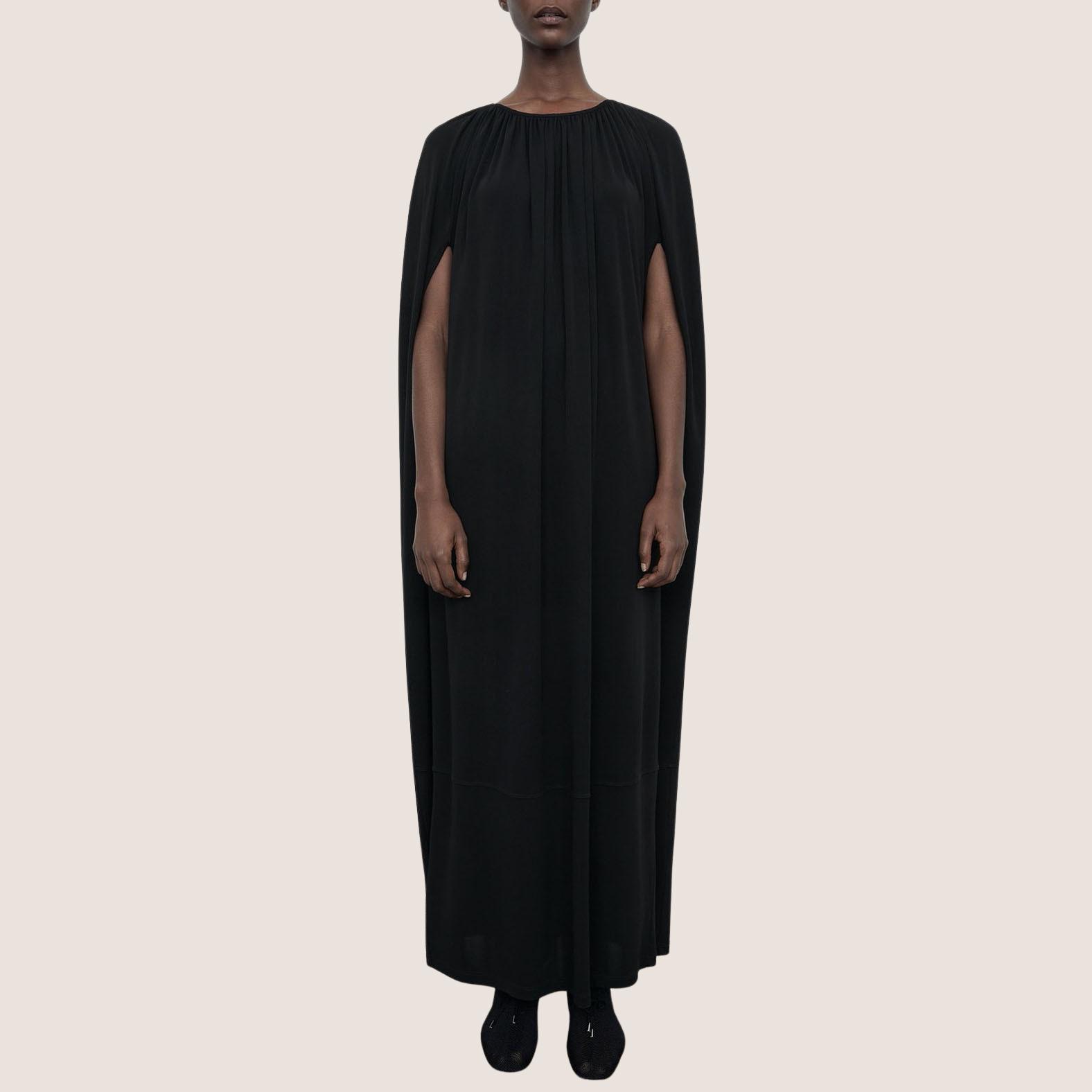 Gathered Cape Dress