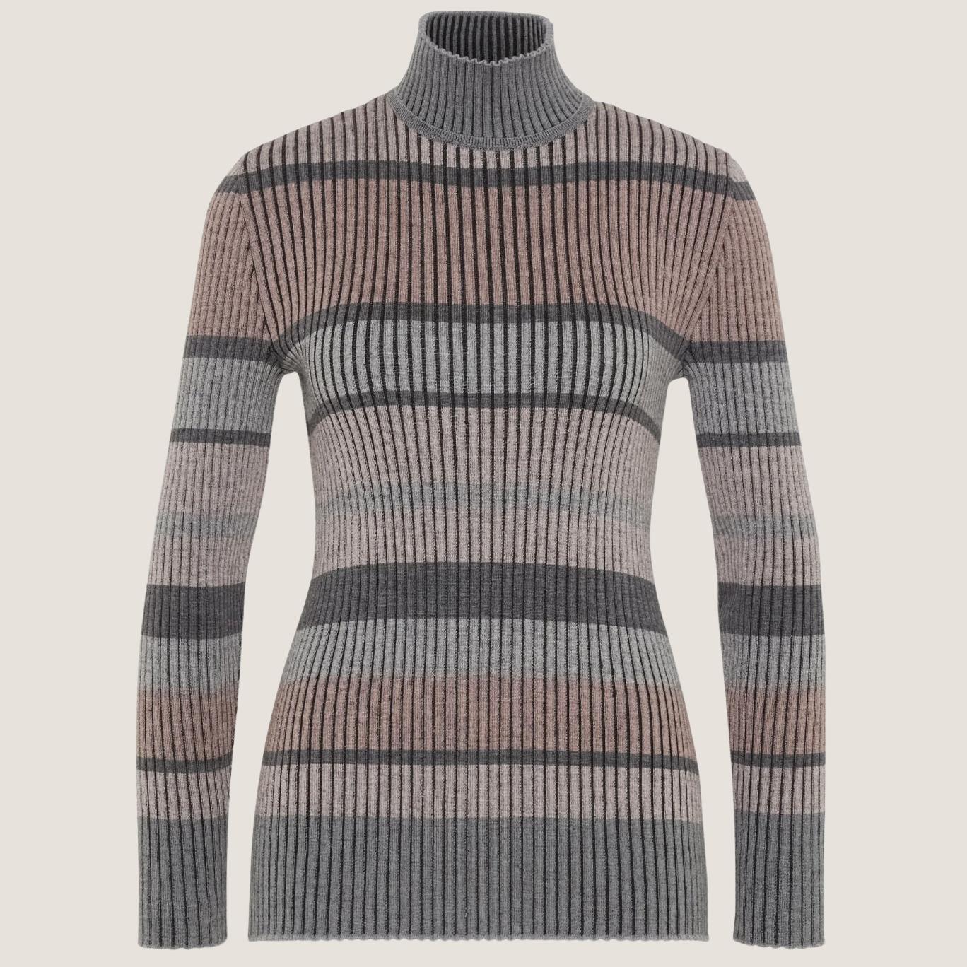 Striped Turtle-Neck Knit