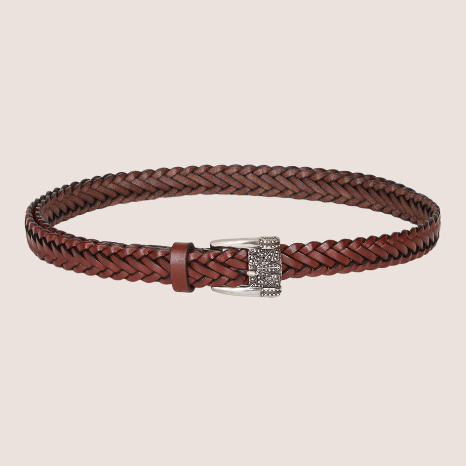 Leather Belt W. Worked Metal Buckle
