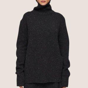 Tweed Knit High Neck Jumper