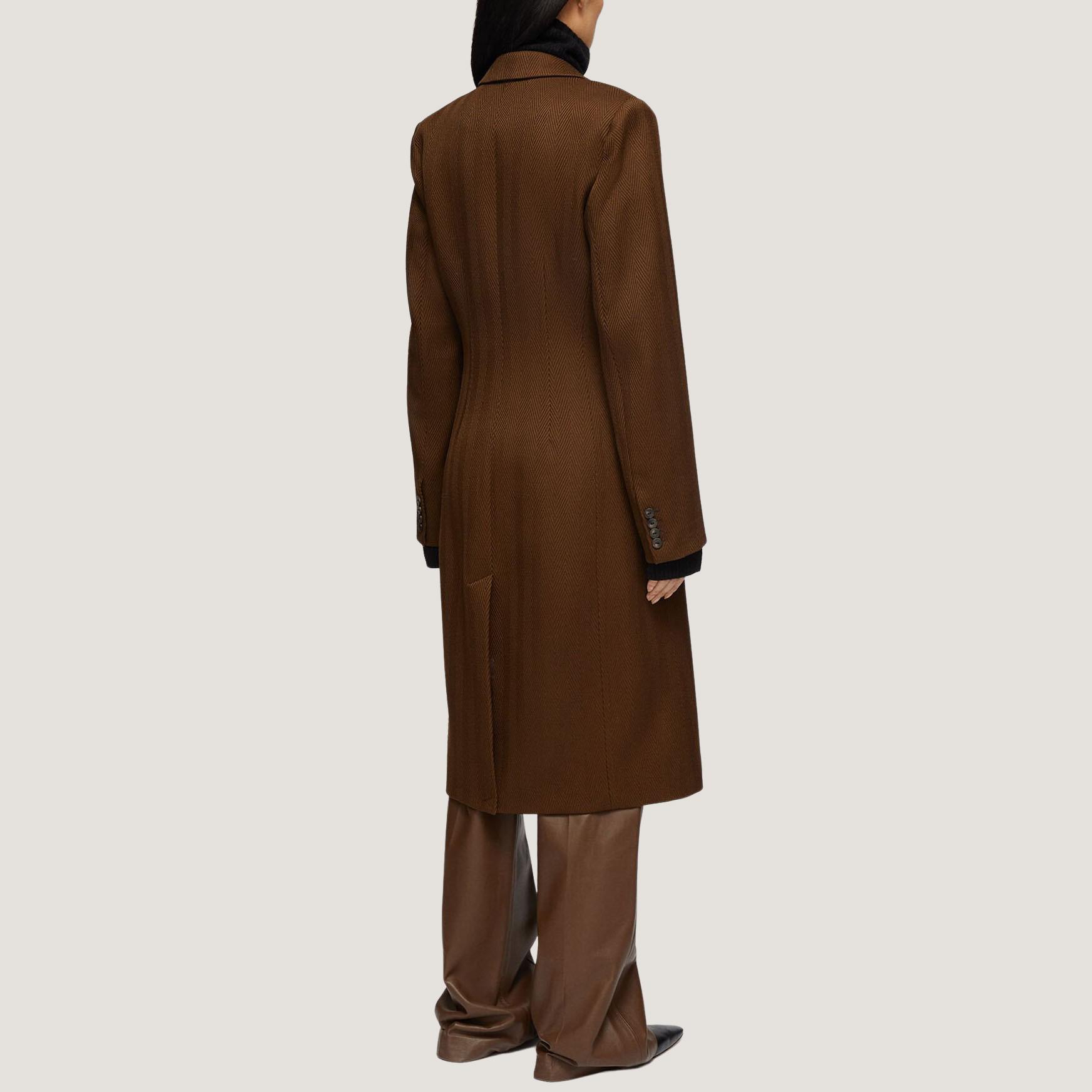 Herringbone Wool Cale Coat