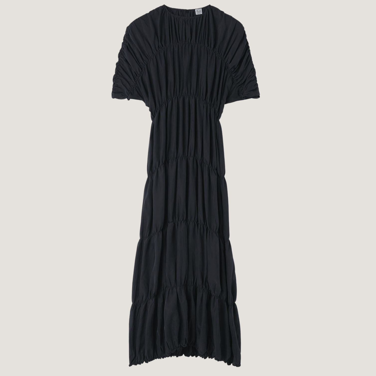 Gathered Silk Dress