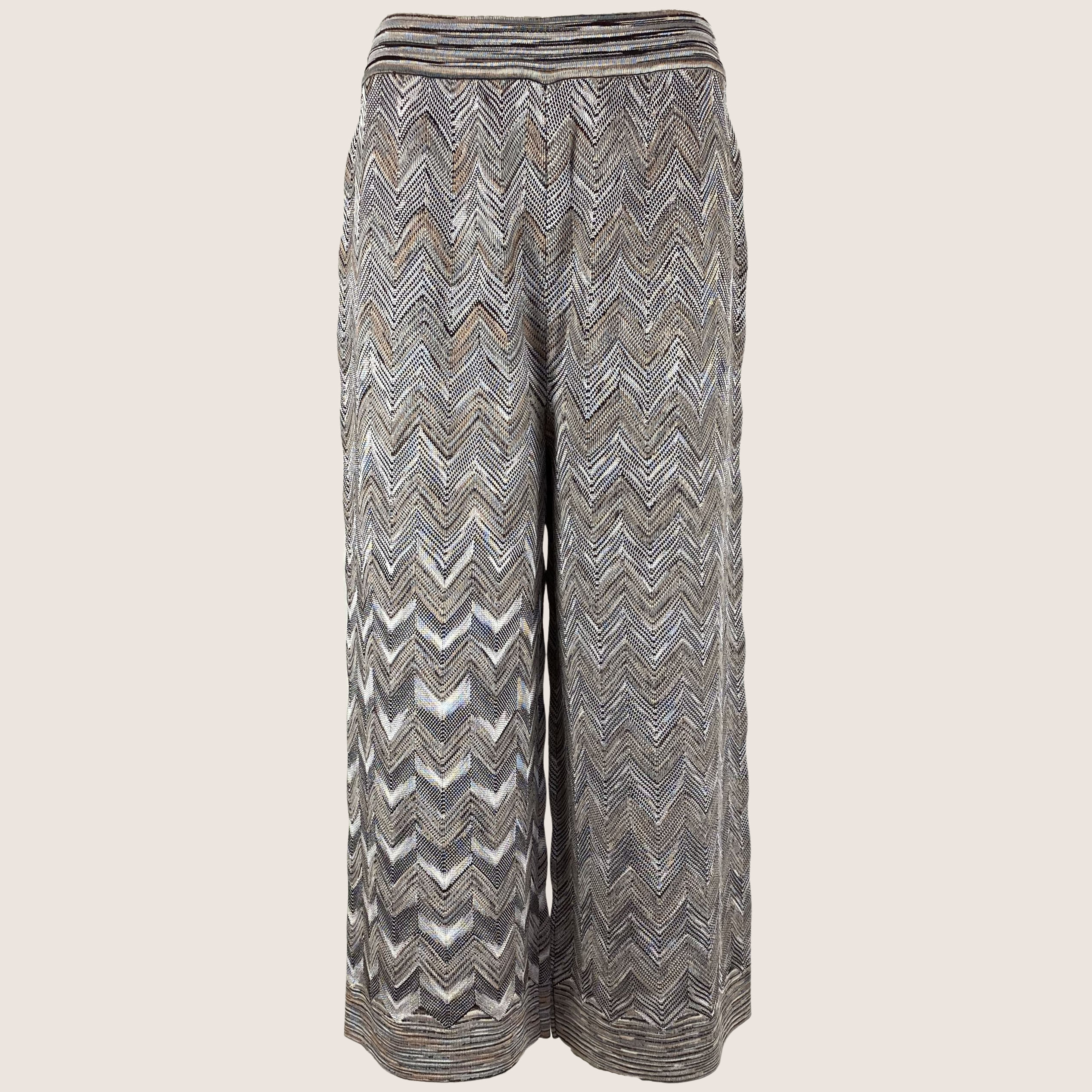 Knitted Zig Zag Cropped Pants