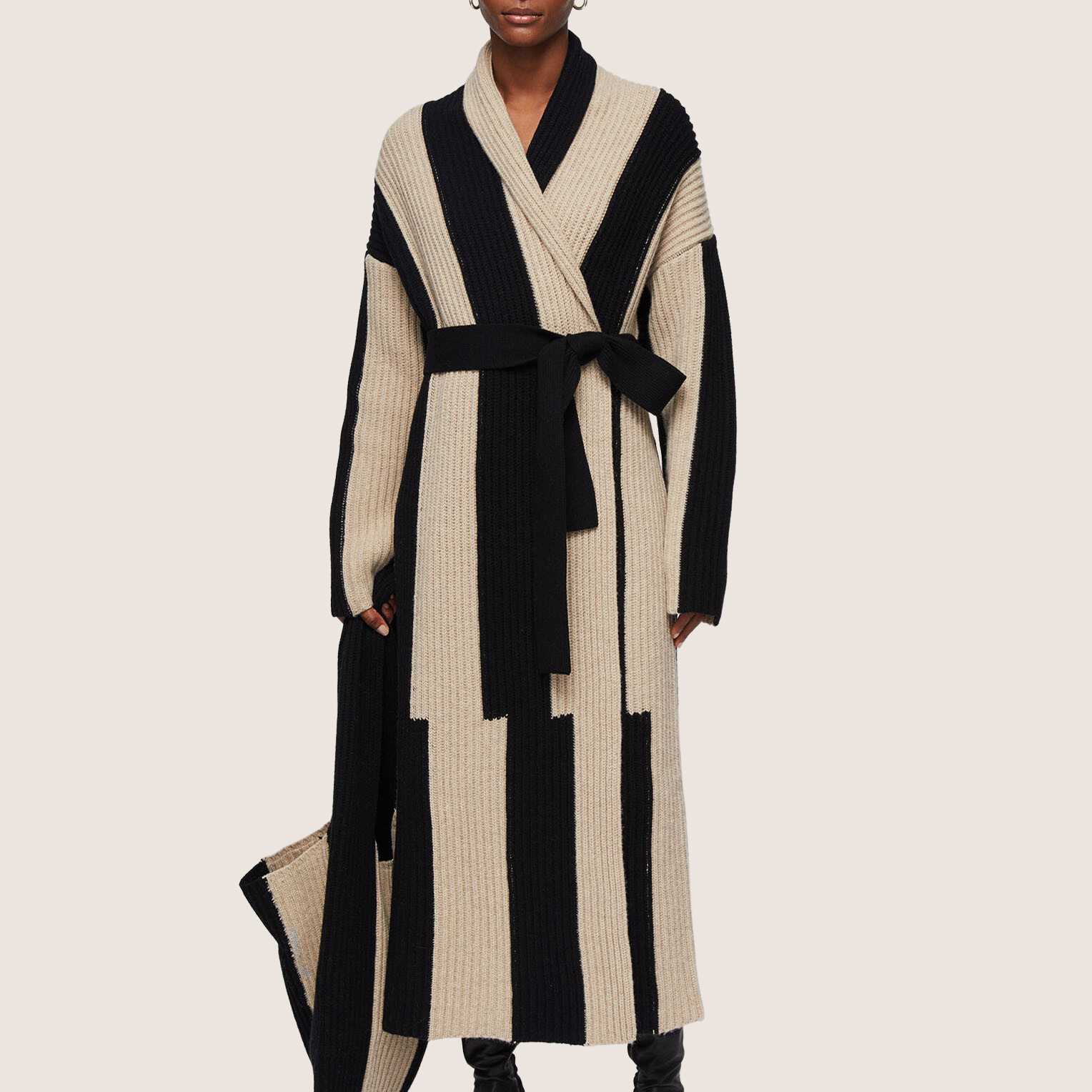 Cardigan Stitch Stripe Coat